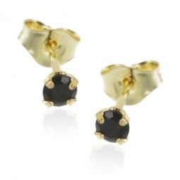 Boucles d'oreilles en or jaune, saphir.
