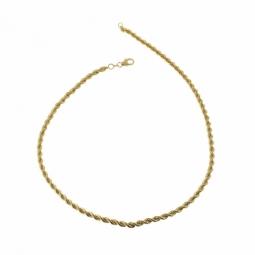 Collier en or jaune, maille corde