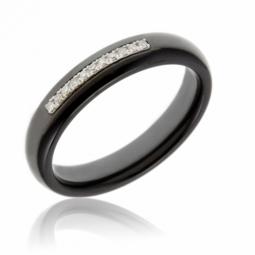 Bague en or gris, diamants et céramique noire