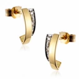 Boucles d'oreilles en or rhodié, diamants