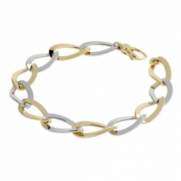 Bracelet 2 ors, maille ovale vrillée