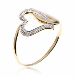 Bague or jaune rhodie coeur diamants