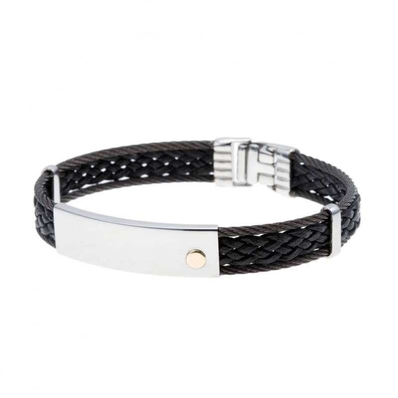 bijoux homme manege bijoux bracelet en acier caoutchouc. Black Bedroom Furniture Sets. Home Design Ideas