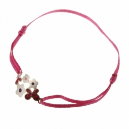 Bracelet en or jaune, ruban polyester et motifs fleurs avec laque