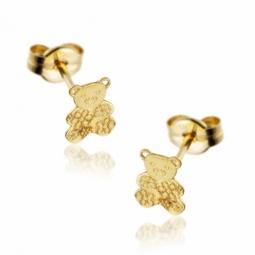 Boucles d'oreilles en or jaune, ourson.