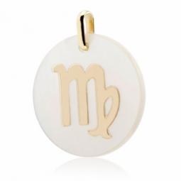 Pendentif en or jaune et nacre, zodiaque vierge