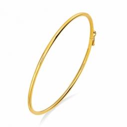 Bracelet jonc en or jaune, flexible et ouvrant, fil 2 mm