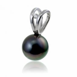 Pendentif en or gris, perle de culture de Tahiti et diamant