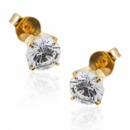 Boucles d'oreilles en or jaune, oxyde de zirconium.