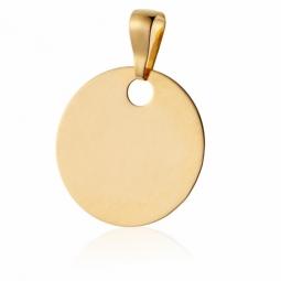 Pendentif plaque ronde en or jaune