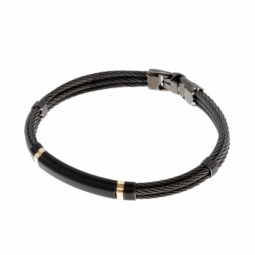 Bracelet jonc en or jaune et cables acier noir