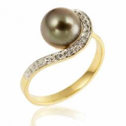 Bague en or rhodié, diamant et perle de culture de Tahiti