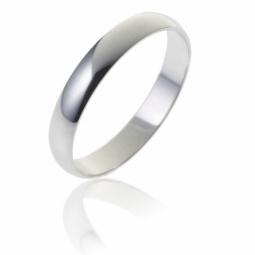 Alliance demi jonc en or gris, largeur 3 mm