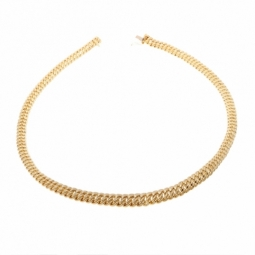 Collier en or jaune, maille  americaine chute centre 11.2 mm - 11.6 mm