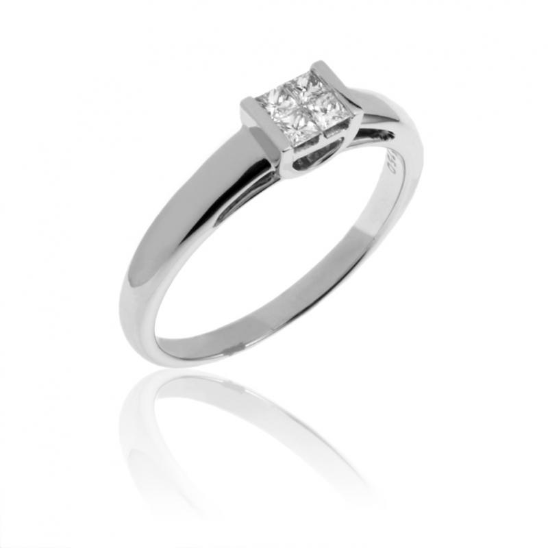 techniques modernes profiter du prix de liquidation la moitié Bague en or gris et diamants taille princesse