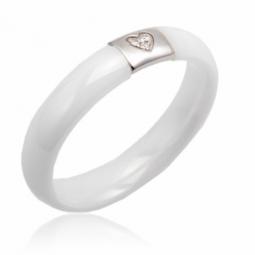 Bague en or gris, céramique blanche et diamants
