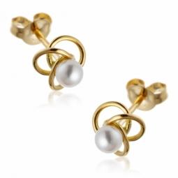 Boucles d'oreilles en or jaune, perle de culture.