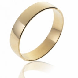 Alliance demi bombée en or jaune, largeur 5 mm
