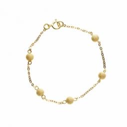 Bracelet en or jaune et boules granitées