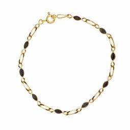 Bracelet en or jaune, maille alternée 1X1 et saphirs navette
