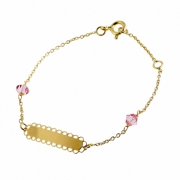 Bracelet identité en or jaune, maille forçat et cristaux de synthèse