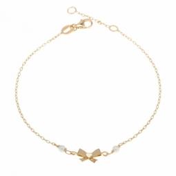 Bracelet en or jaune,  noeud et perles de culture