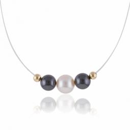 Collier en or jaune, cable en nylon, perle de culture, hématites et boules or