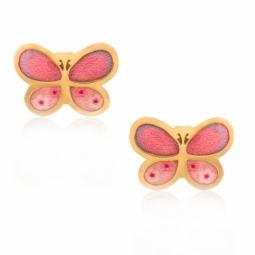 Boucle d'oreille en or jaune et laque, papillon
