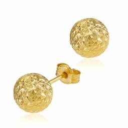 Boucles d'oreilles en or jaune, boule facetée