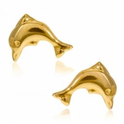 Boucles d'oreilles en or jaune, dauphin
