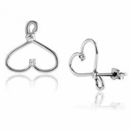 Boucles d'oreilles en or gris, cintre et diamant
