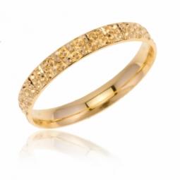 Alliance en or jaune perlée, 3 mm