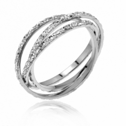 Alliance en or gris, diamantée 1.5 mm