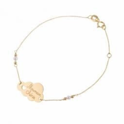 Bracelet en or jaune et perles de culture, maman