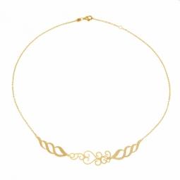 Collier en or jaune, motifs ajourés mats et diamantés