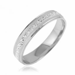 Alliance en or gris mate et diamantée 4.5 mm