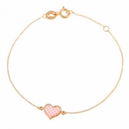 Bracelet en or jaune, coeur et laque vichy