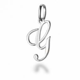 Pendentif alphabet en or gris, lettre G