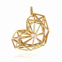 Pendentif en or jaune rhodié et diamant