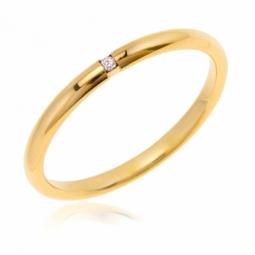 Alliance en or jaune et diamant, 2 mm