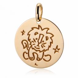 Médaille zodiaque en or jaune, lion