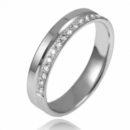 Demi alliance en or gris et diamants, largeur 4 mm