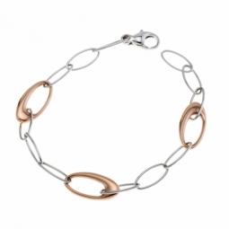 Bracelet en or gris et or rose, maille ovale