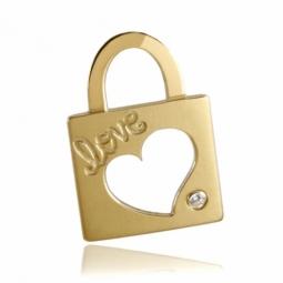 Pendentif en or jaune, motif cadenas LOVE et diamant