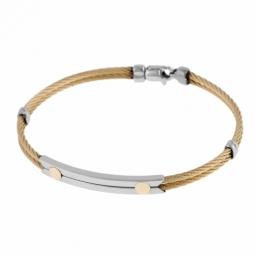 Bracelet jonc en acier, cable et or jaune