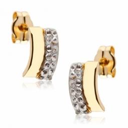 Boucles d'oreilles en or jaune, résine et cristaux de synthèse