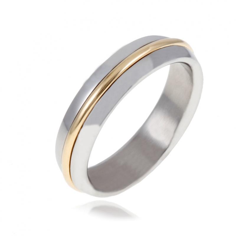 Achat Bague en or jaune et acier   Taille de doigt - 62 - 0.8 g - Le ... f1232285fc9e
