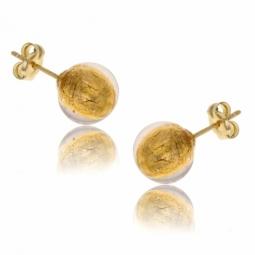 Boucles d'oreilles en or jaune, boule verre de Venise