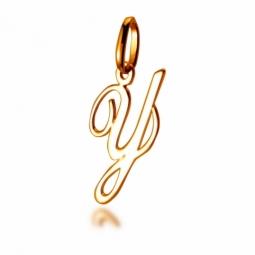 Pendentif alphabet en or jaune, lettre Y