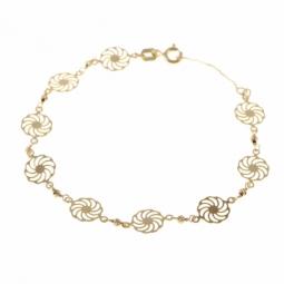 Bracelet en or jaune, motifs spirales et boules